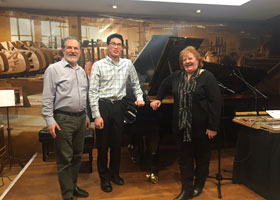 Phillip Kristyono after his successful master class July 2017 with Gabriella Pusner and Theme & Variations (Steinway Pianos Willoughby) Business Owner Ara Vartoukian