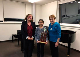 Winner of the Bethany Haisman Memorial Award Penrith Eisteddfod 2016 Sophie Sutherland, with Adjudicato (L) Dr, Jeanell Carrigan and (R) Assistant Phyllis Huthnance